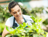 Pretty young woman gardening — Stock Photo