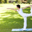 Elegant middle aged woman doing yoga outdoors — Stock Photo #14902587