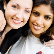 Two female college students closeup portrait - Stockfoto
