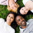 Stock Photo: Group of young lying on grass