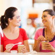 two happy friends having drinks in cafe — Stock Photo #14904467