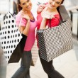 Stock Photo: Two happy young women with shopping bags