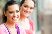 Two young women friends closeup portrait — Stock Photo