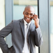 Happy african american business executive talking on cell phone — Stock Photo #14964243