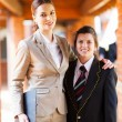 Female high school teacher and student portrait — Stock Photo