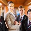 High school teacher and group students portrait — Stock Photo