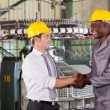 Foto Stock: Factory manager handshaking with african american worker