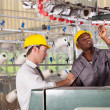 Textile factory worker and quality controller checking quality — Stockfoto