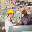 Stock Photo: Textile factory worker and quality controller checking quality
