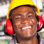 Happy african american factory worker closeup portrait — Stock Photo #14967899