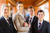 High school teacher and group students portrait — Stock Photo
