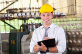 Textile factory manager portrait in production area — Stock Photo