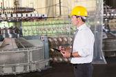 Gestionnaire de production textile travaillant à l'intérieur de l'usine — Photo