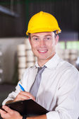 Portrait of handsome factory manager — Stock Photo