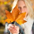 Young happy woman holding a autumn tree leaf in forest — Stok fotoğraf