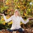 Happy woman throwing autumn leaves in forest — Stok fotoğraf