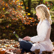 Beautiful woman working on laptop computer in natural autumn outdoors — ストック写真
