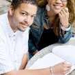 Two african college students studing together — Stock Photo #15528803