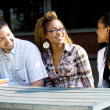 Group of african american college students chatting — Stock Photo