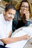 Two african college students studing together — Stock Photo
