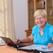 Stock Photo: Happy senior woman calculating her finance at home