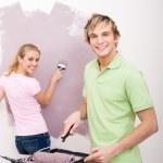Young couple doing home renovation — Stock Photo #15842877
