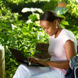 Female african college student using laptop outdoors — Stock Photo #16297427