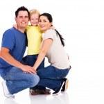 快乐年轻的家庭隔离在白色 — 图库照片