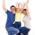 白底向上快乐年轻家庭武器 — 图库照片