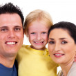 Happy family closeup portrait isolated on white — Stock Photo