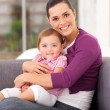 Pretty mother hugging cute little daughter on sofa — Stock Photo