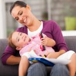 Happy mother playing with little daughter at home — Stock Photo #18714937