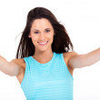 Cheerful young woman giving two thumbs up on white background — Stock Photo