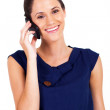 Cute young businesswoman talking on cell phone isolated on white — Stock Photo