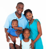 Happy african family group portrait on white — Stock Photo