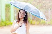 Pretty young woman in the rain with umbrella — Stock Photo