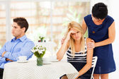 Mother comforting daughter when she has relationship difficulties — Stock Photo