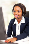 African american online support operator using computer — Stock Photo