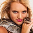 Sexy young woman with python — Stock Photo