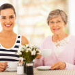 Beautiful young woman having tea with grandmother or mother — Stock Photo