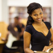 Cute female african american college student in library — Stock Photo #20130411