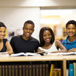 Group of african university students in library — Stock Photo
