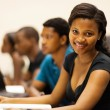 Group of african american university students in lecture hall — Stock Photo