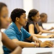 Stock Photo: Group of african university students in computer room