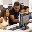 Group african university students in computer room - Stock Photo