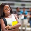 Beautiful young female african college student on campus — Stock Photo #20131061