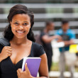 Stock Photo: Female africamericcollege student on modern campus