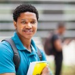 Stock Photo: Male africcollege boy portrait on campus