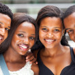 Foto Stock: Group of africamericcollege students closeup