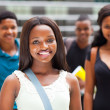 Group of african college students on modern campus — Stock Photo